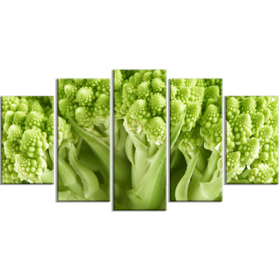 Designart Fresh Green Romanesco Florets Floral Canvas Art Print - 5 Panels