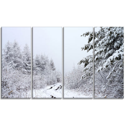 Designart Frosted Forest Trail In Fall Landscape Photo Canvas Art Print - 4 Panels