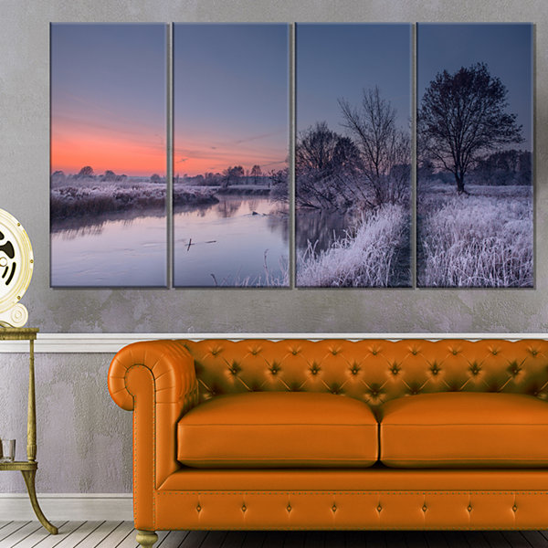 Designart Frosty Fall Morning Panorama Landscape Print WallArtwork - 4 Panels