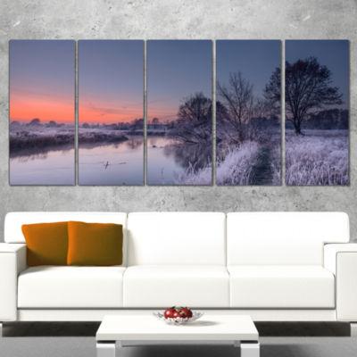 Designart Frosty Fall Morning Panorama Landscape Print Wrapped Wall Artwork - 5 Panels