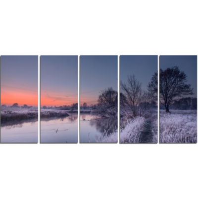 Frosty Fall Morning Panorama Landscape Print WallArtwork - 5 Panels