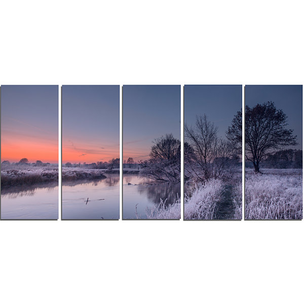 Designart Frosty Fall Morning Panorama Landscape Print WallArtwork - 5 Panels