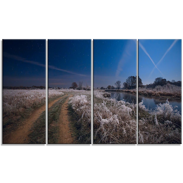 Designart Frosty Fall Night In Moonlight LandscapePrint Wall Artwork - 4 Panels