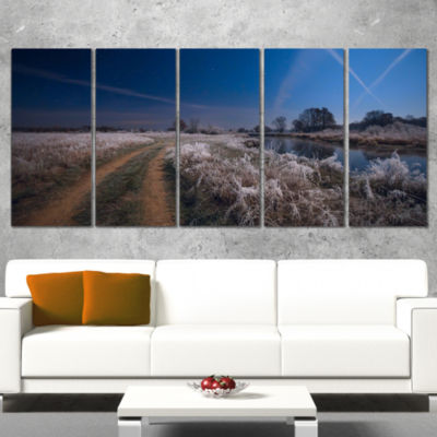 Frosty Fall Night In Moonlight Landscape Print Wall Artwork - 5 Panels