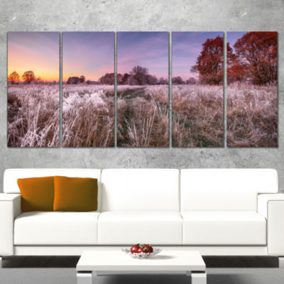 Designart Frosty Fall Trees With Red Leaves Landscape PrintWrapped Wall Artwork - 5 Panels