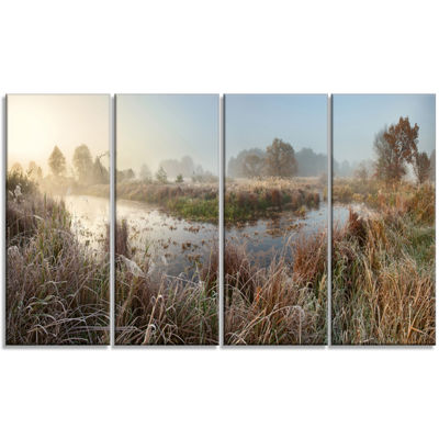 Designart Frosty Grass Aside River Panorama Landscape PrintWall Artwork - 4 Panels