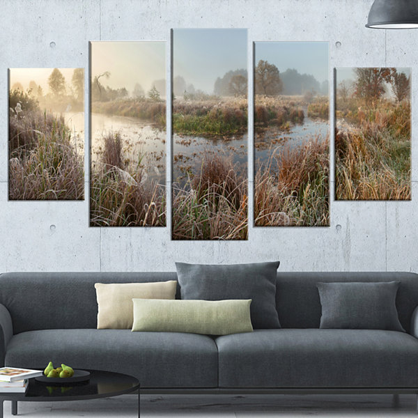 Designart Frosty Grass Aside River Panorama Landscape PrintWrapped Wall Artwork - 5 Panels
