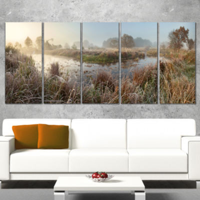 Frosty Grass Aside River Panorama Landscape PrintWall Artwork - 5 Panels