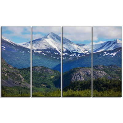 Designart Frosty Mountains On Alaska Landscape Canvas Art Print - 4 Panels