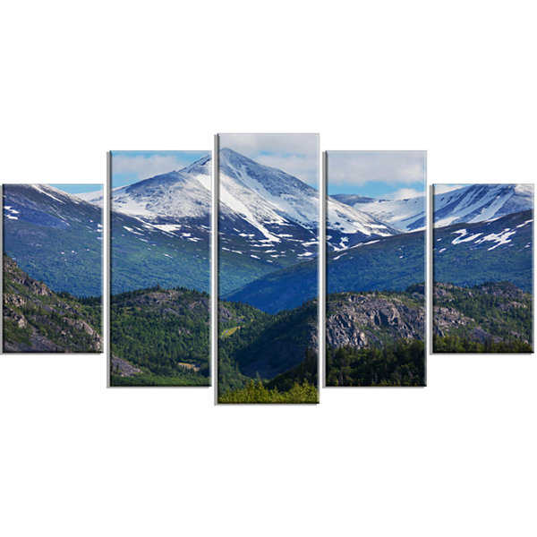 Designart Frosty Mountains On Alaska Landscape Wrapped Canvas Art Print - 5 Panels