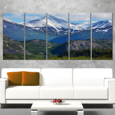 Designart Frosty Mountains On Alaska Landscape Canvas Art Print - 5 Panels