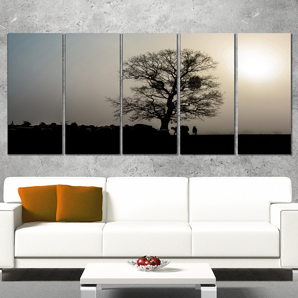 Designart Frosty Spring Morning Sunrise With TreeLandscapeCanvas Art Print - 4 Panels