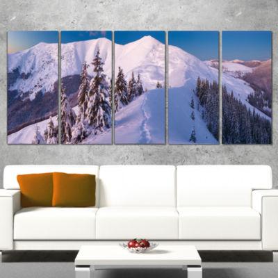 Designart Frosty Winter Carpathians View LandscapeCanvas Art Print - 5 Panels