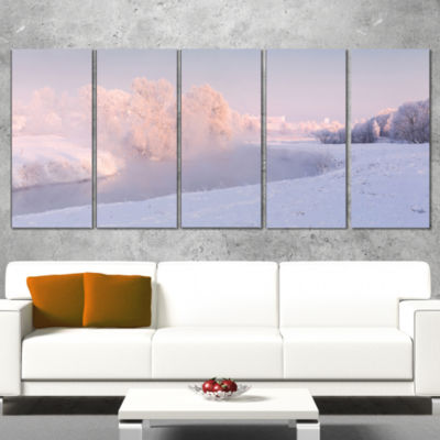 Frosty Winter Sunshine Panorama Landscape Print Wrapped Wall Artwork - 5 Panels