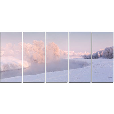 Designart Frosty Winter Sunshine Panorama Landscape Print Wall Artwork - 5 Panels