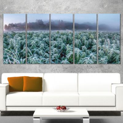 Designart Frozen Hemp Field In Autumn Morning Landscape Print Wrapped Wall Artwork - 5 Panels
