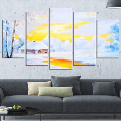 Designart Frozen River In Winter Landscape Art Print Canvas- 5 Panels