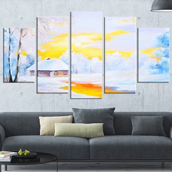 Designart Frozen River In Winter Landscape Art Print Canvas- 5 Panels