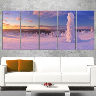 Designart Frozen Trees On Mountain Panorama Landscape CanvasArt Print - 4 Panels
