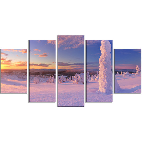 Designart Frozen Trees On Mountain Panorama Landscape Wrapped Canvas Art Print - 5 Panels