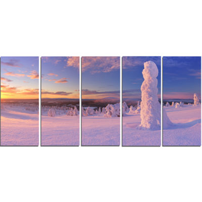 Designart Frozen Trees On Mountain Panorama Landscape CanvasArt Print - 5 Panels
