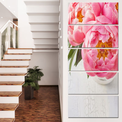 Designart Full Bloom Pink Peony Flowers Floral Canvas Art Print - 4 Panels