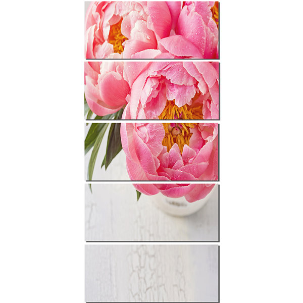 Designart Full Bloom Pink Peony Flowers Floral Canvas Art Print - 5 Panels