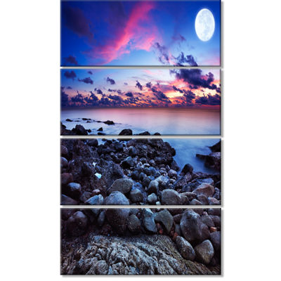Designart Full Moon Fantasy Seascape Large Landscape CanvasArt - 4 Panels