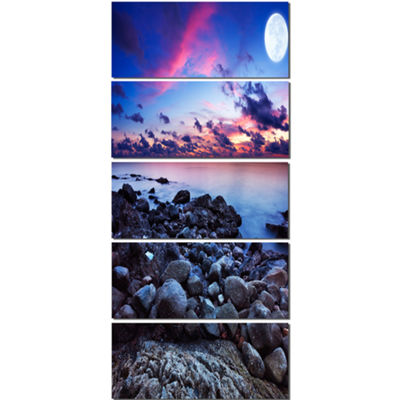Designart Full Moon Fantasy Seascape Large Landscape CanvasArt - 5 Panels