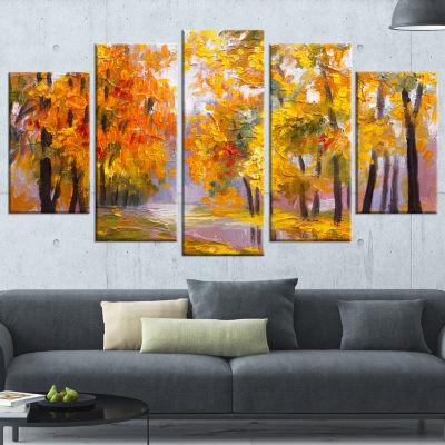 Full Of Fallen Leaves Landscape Art Print Canvas -4 Panels