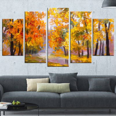 Designart Full Of Fallen Leaves Landscape Art Print Canvas -5 Panels