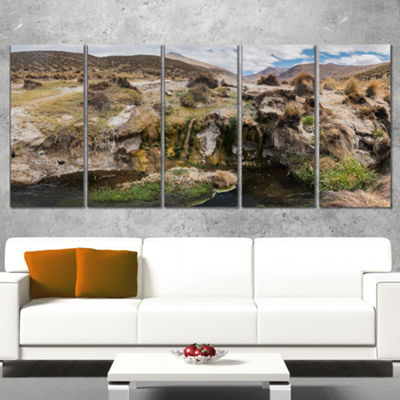 Designart Fumaroles Altipano Geothermal Area Landscape PrintWrapped Wall Artwork - 5 Panels