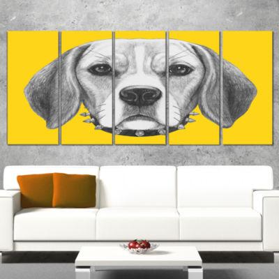 Designart Funny Beagle Dog With Collar Animal Canvas Art Print - 4 Panels