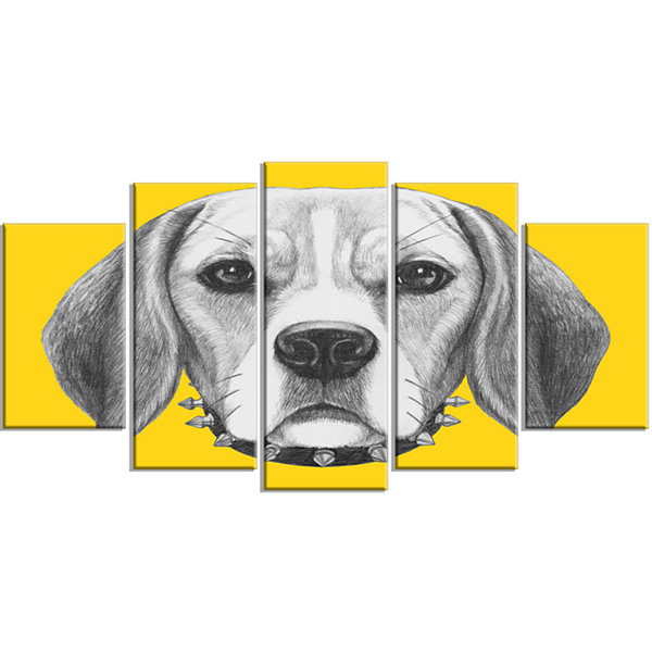 Designart Funny Beagle Dog With Collar Animal Wrapped CanvasArt Print - 5 Panels