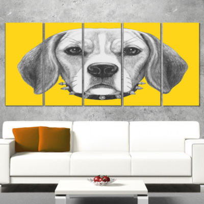 Funny Beagle Dog With Collar Animal Wrapped CanvasArt Print - 5 Panels