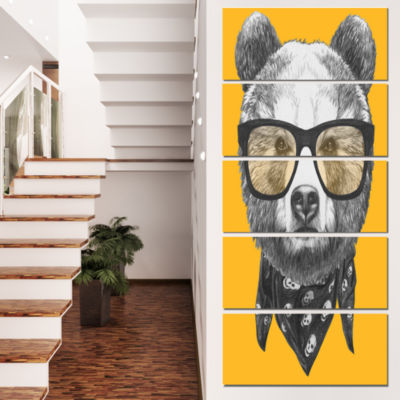 Designart Funny Bear With Formal Glasses Contemporary AnimalArt Canvas - 4 Panels