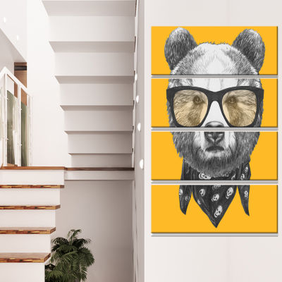 Funny Bear With Formal Glasses Contemporary AnimalArt Canvas - 4 Panels