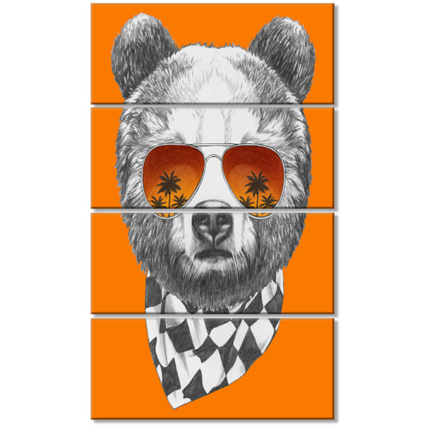 Designart Funny Bear With Sunglasses Animal CanvasArt Print- 4 Panels