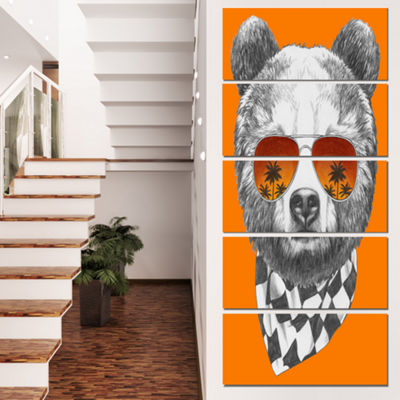 Designart Funny Bear With Sunglasses Animal CanvasArt Print- 5 Panels