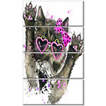 Designart Funny Black Cat Illustration Animal Canvas Wall Art - 4 Panels
