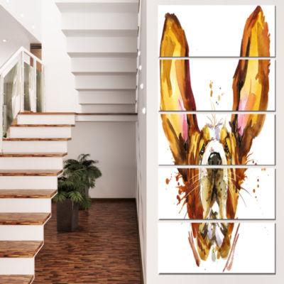 Designart Funny Brown Dog Basset Animal Canvas Wall Art - 4Panels