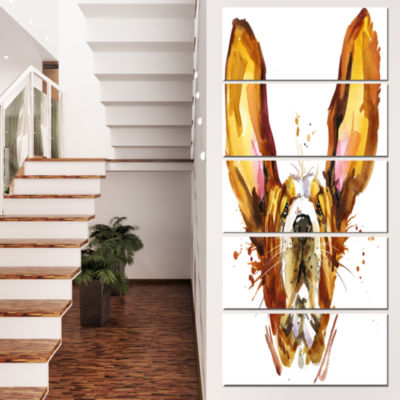 Funny Brown Dog Basset Animal Canvas Wall Art - 5Panels