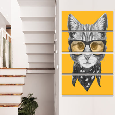 Funny Cat With Glasses And Scarf Animal Canvas ArtPrint - 4 Panels