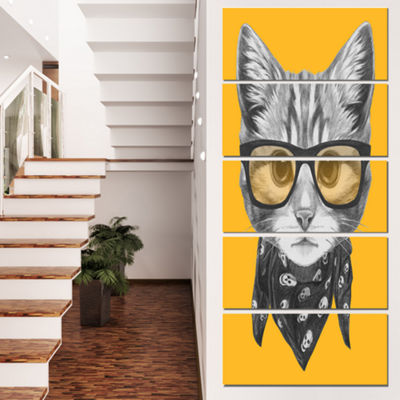 Designart Funny Cat With Glasses And Scarf AnimalCanvas ArtPrint - 5 Panels