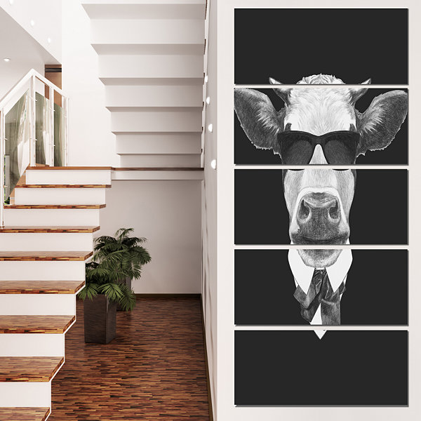 Designart Funny Cow In Suit With Glasses Animal Canvas Art Print - 4 Panels