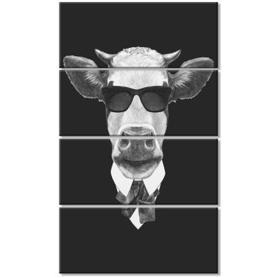 Funny Cow In Suit With Glasses Animal Canvas Art Print - 4 Panels