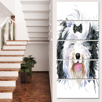 Funny Dog Head Black White Animal Canvas Wall Art- 5 Panels