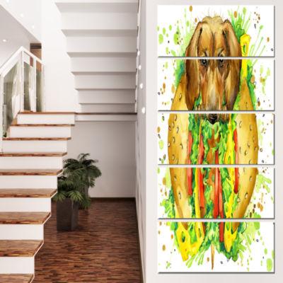 Designart Funny Dog Inside Sandwich Contemporary Animal ArtCanvas - 5 Panels