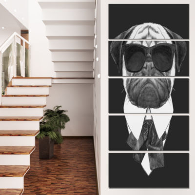Designart Funny Dog With Black Glasses Animal Canvas Art Print - 4 Panels