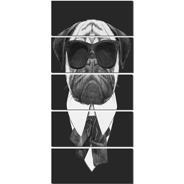 Funny Dog With Black Glasses Animal Canvas Art Print - 5 Panels